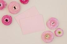 pink peonies and envelopes