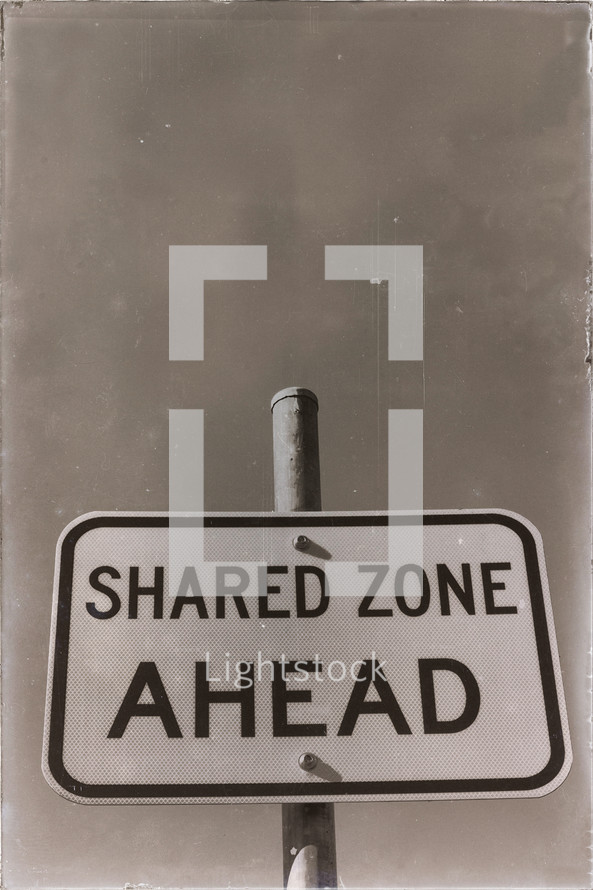 shared zone ahead