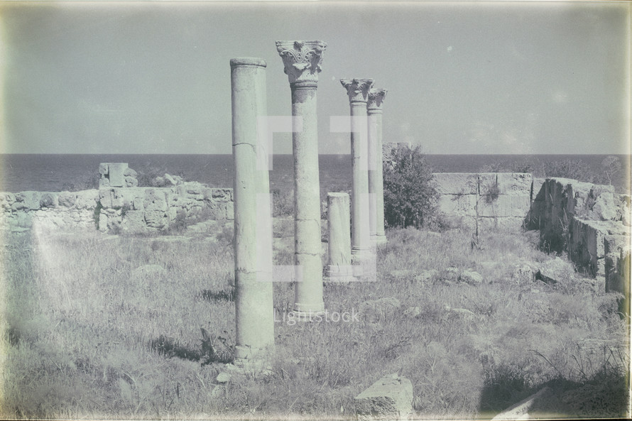 columns at a ruins site alone a shore in Cyprus