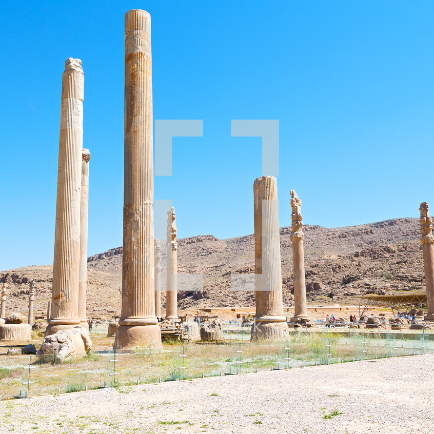 columns at a ruins site in Iran