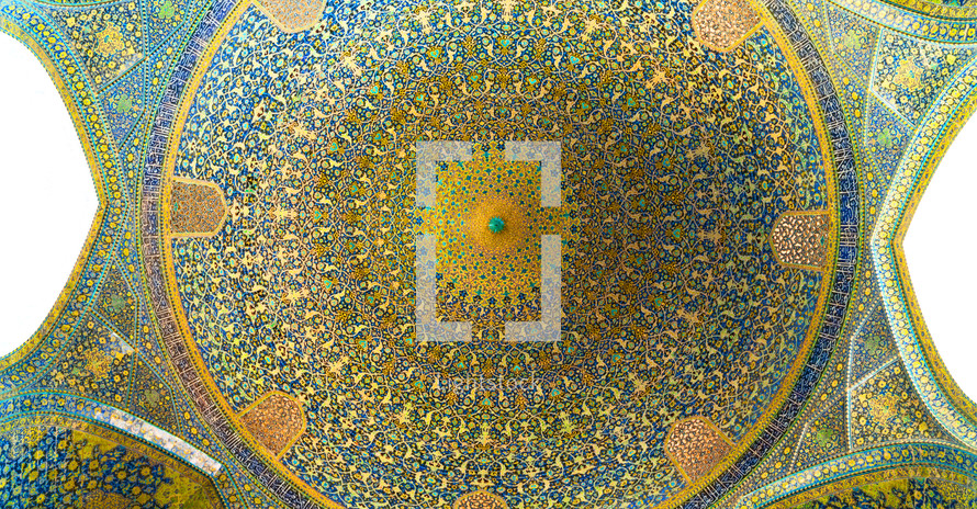mosaic pattern on the ceiling of a dome in Iran