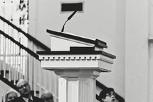 microphone on a pulpit