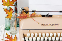 blank paper on a typewriter in a fall scene
