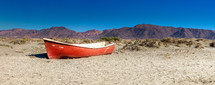 beached boat on a beach