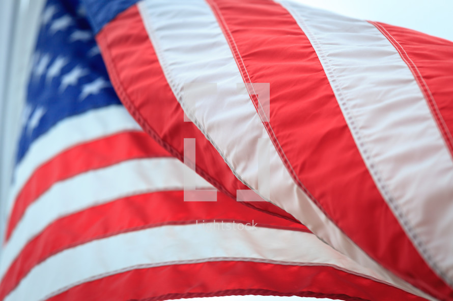 Closeup of American Flag Waving In Wind at Chriss Cemetery, West Virginia.