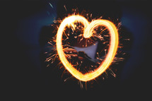A Valentine heart of fiery sparkles