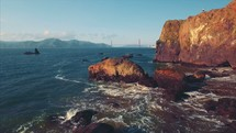 Tracking Shot Through Rugged Coastline | Golden Gate Bridge | Coastline | Beach | Summer | San Francisco | Aerial | People | Waves | Nature | Landscape | Outside | California | West Coast | Mountains