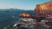 Tracking Shot Through Rugged Coastline | Golden Gate Bridge | Coastline | Beach | Summer | San Francisco | Aerial | People | Waves | Nature | Landscape | Outside | California | West Coast | Mountains