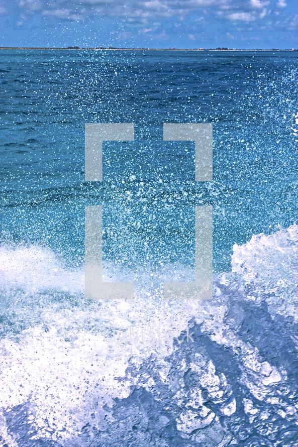 splashing ocean water