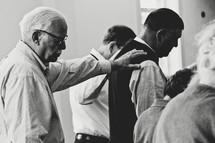 a congregation in prayer