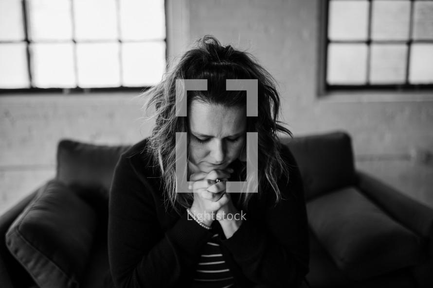 a woman in praying