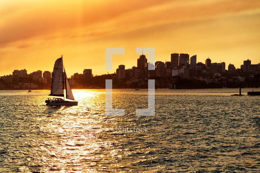 sailboat at sunrise