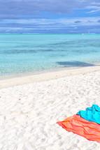 beach towels on the sand of a Polynesian beach