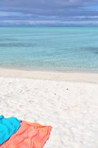 beach towels on the sand at a Polynesian beach