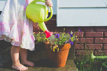 a girl watering a plant with a watering can