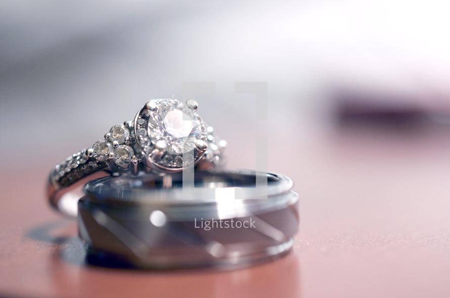 Couple's wedding rings.