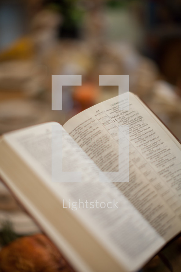 open Bible at a Thanksgiving dinner table