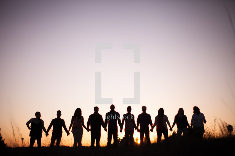 silhouettes, group, people, row, standing, field, outdoors
