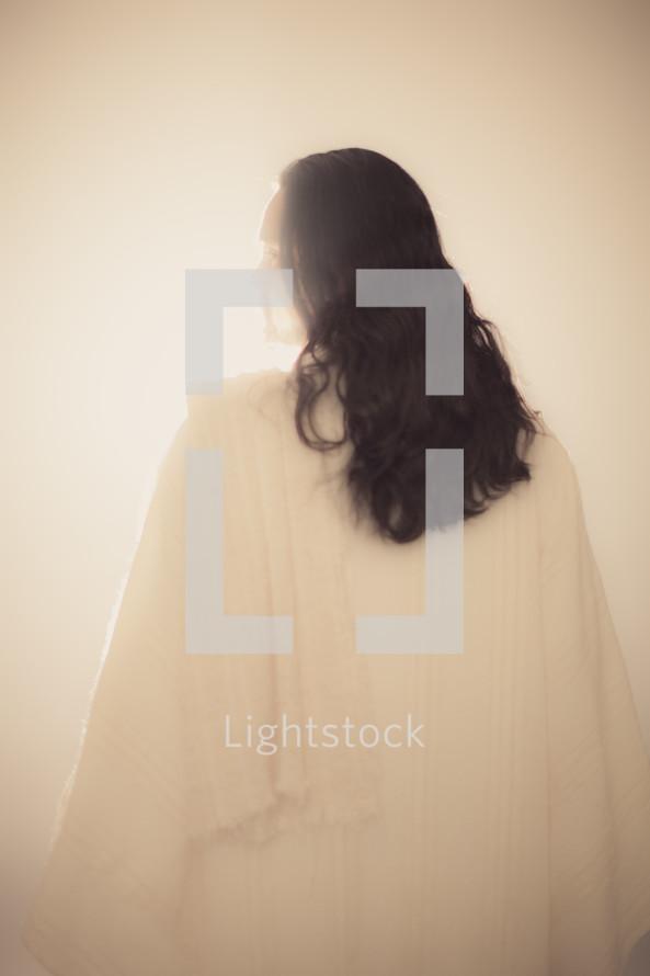 The resurrected Christ -- Jesus facing the light.