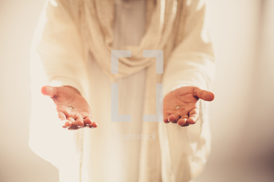 The resurrected Christ -- Jesus extending His hands as an invitation to follow Him.