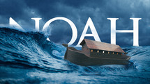 Noah's Ark in a stormy sea