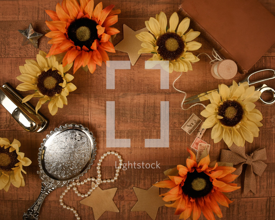 sunflowers on wood background