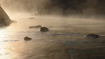 flowing water and steam