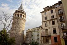 Large tower around buildings