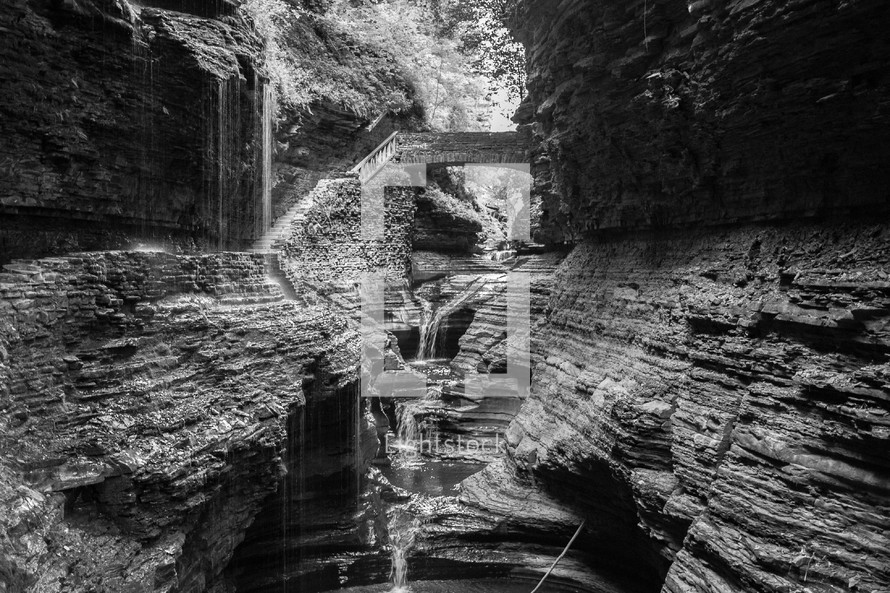 trickling water down a canyon