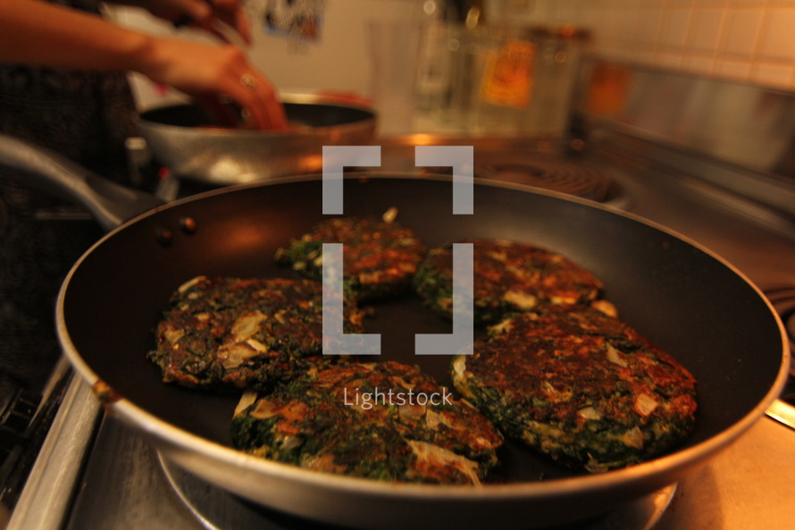 cooking spinach burgers