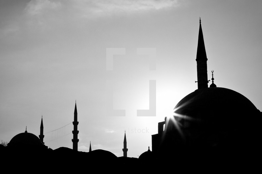 silhouettes of mosque towers
