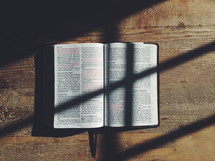 shadows on the pages of a Bible