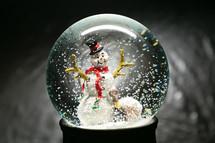 a snowman in a snow globe