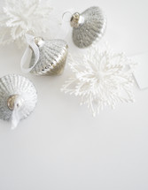 silver and white Christmas ornaments
