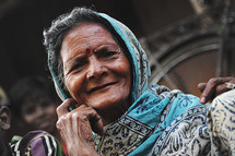 face of an elderly woman in India