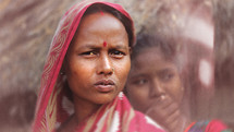 face of a woman in India with Bindi