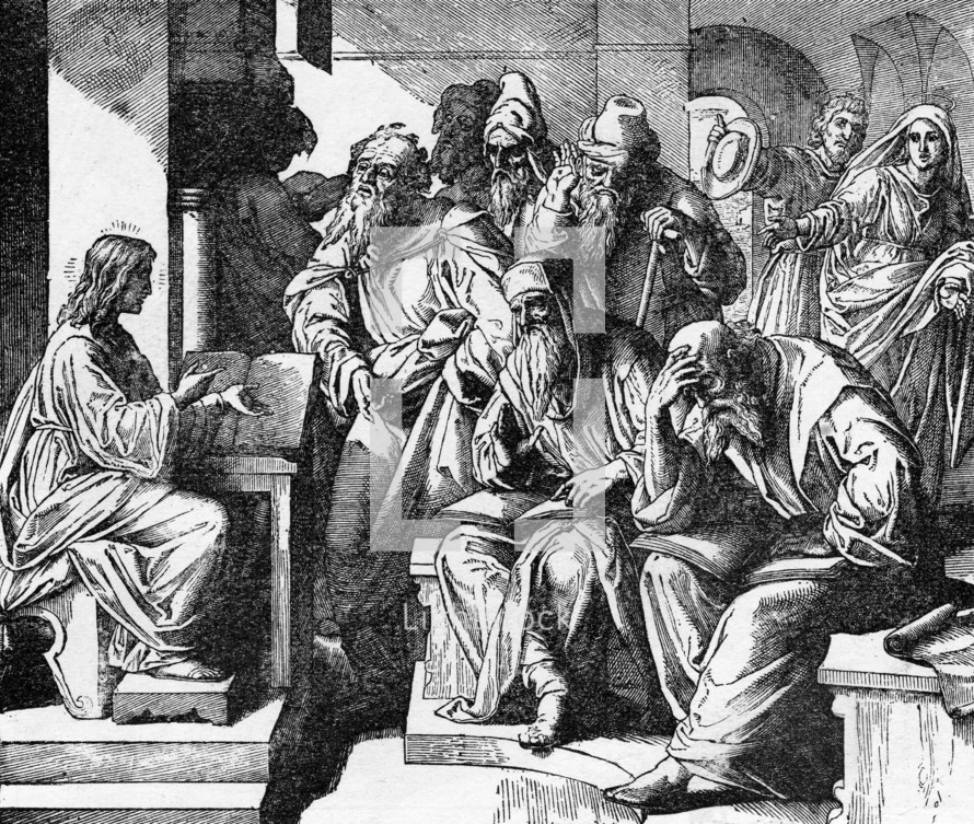 Jesus teaching in the temple, Luke, 2: 46-47