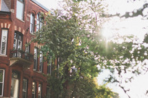 balcony on a brick building