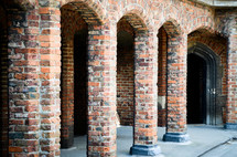 brick pillars and archways