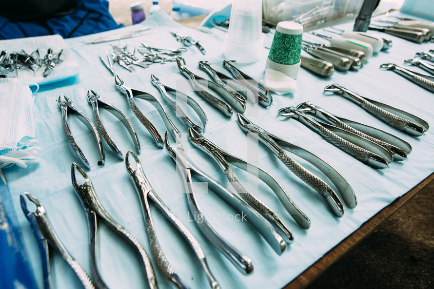 medical tools on a table