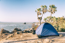 camping on a beach
