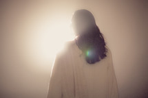 The resurrected Christ -- Jesus facing the light.