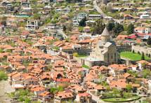 Georgia, Mtskheta, village and cathedral.