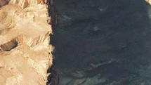 aerial view over a desert mountain ridge