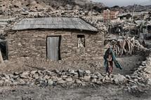 primitive village and little muslim girl