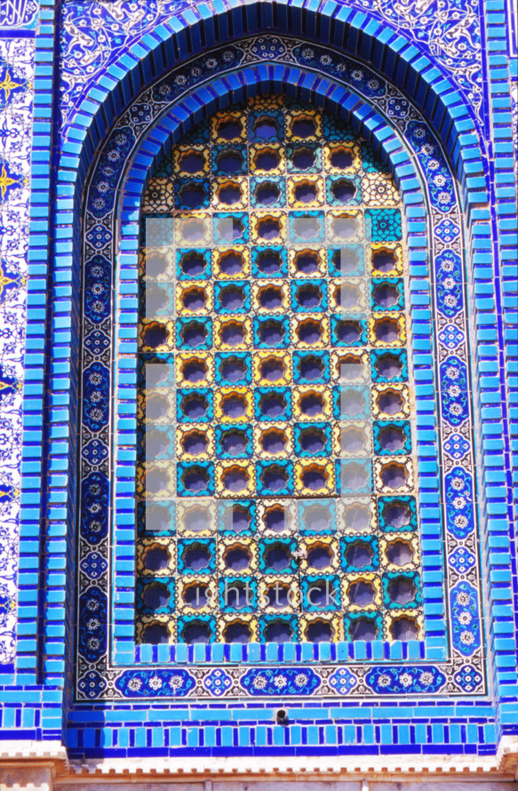 colorful arch on the Dome of the rock