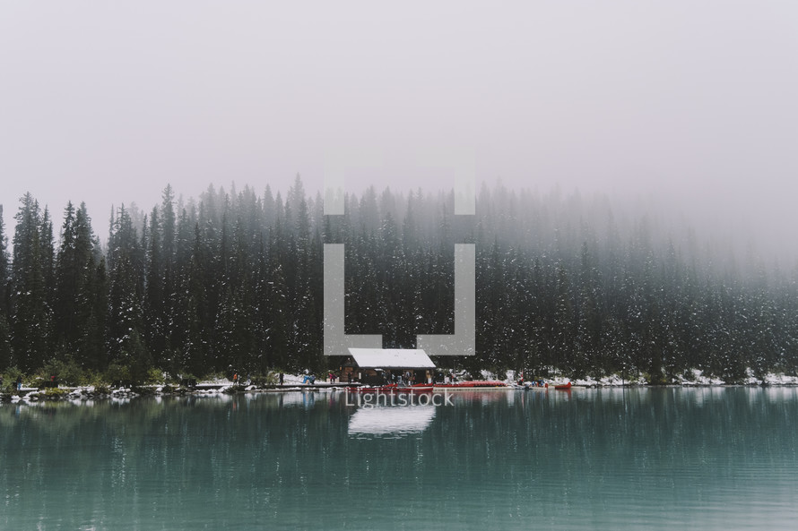 snow falling over Lake Louise