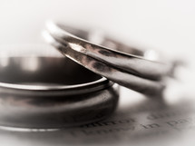 wedding rings on the pages of a Bible