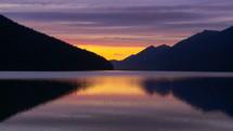 Sunset on wilderness lake