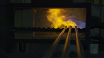 melting glass in a furnace